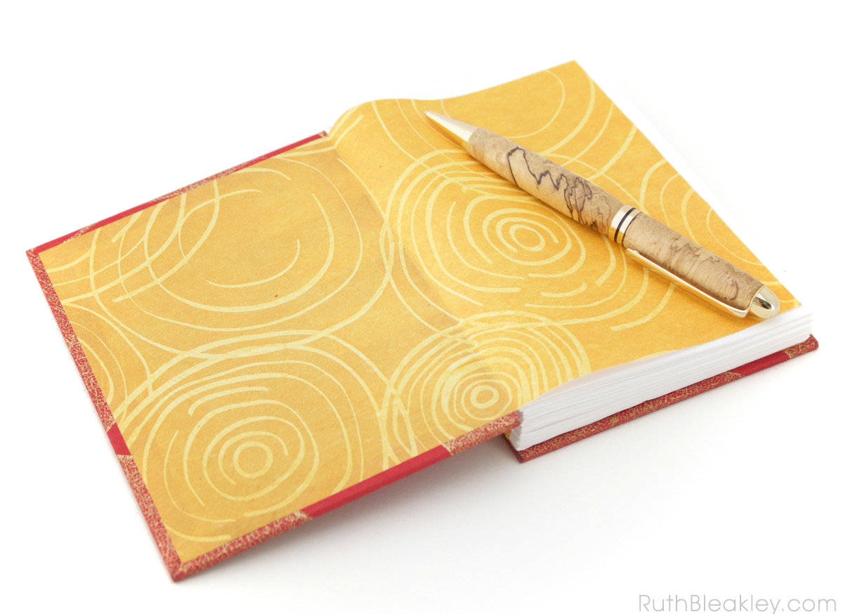 Red Leaf French Link Journal handmade by bookbinder Ruth Bleakley - 3