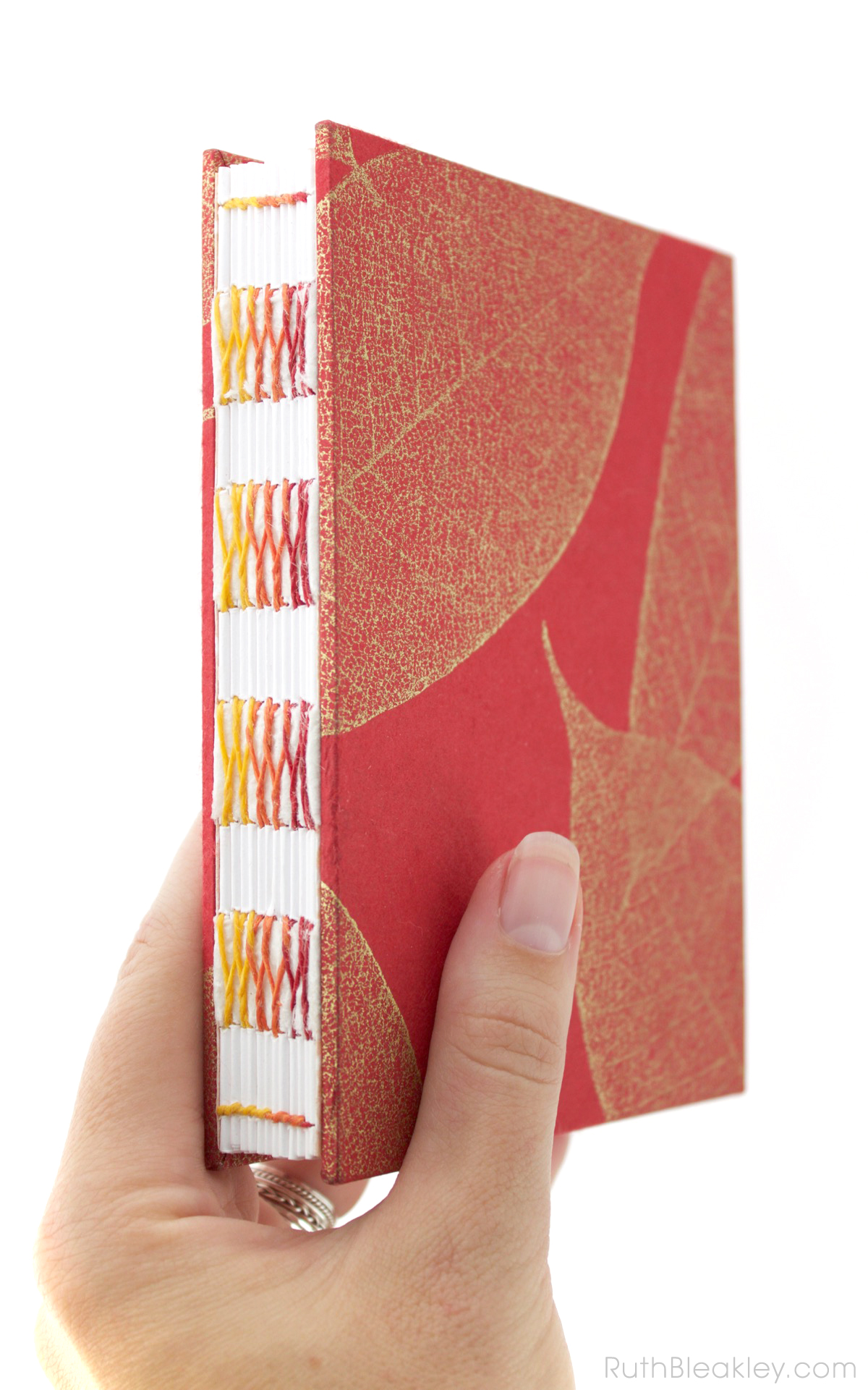 Red Leaf French Link Journal handmade by bookbinder Ruth Bleakley - 6