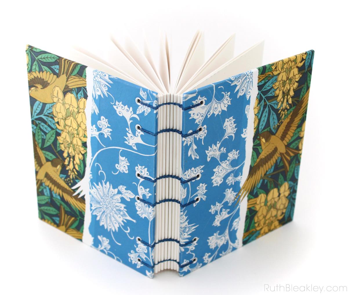 Sparrow Art Nouveau Coptic Journal handmade by bookbinder Ruth Bleakley