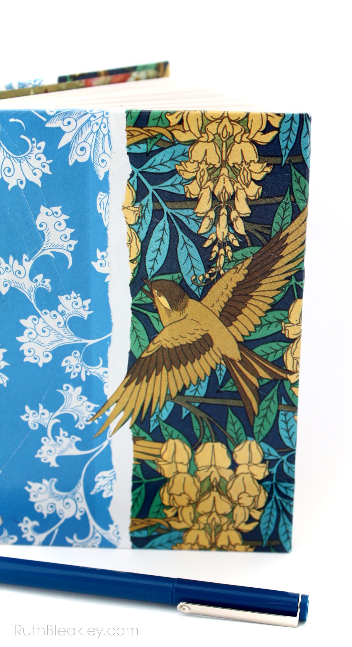 Sparrow Art Nouveau Journal handmade by bookbinder Ruth Bleakley - 5
