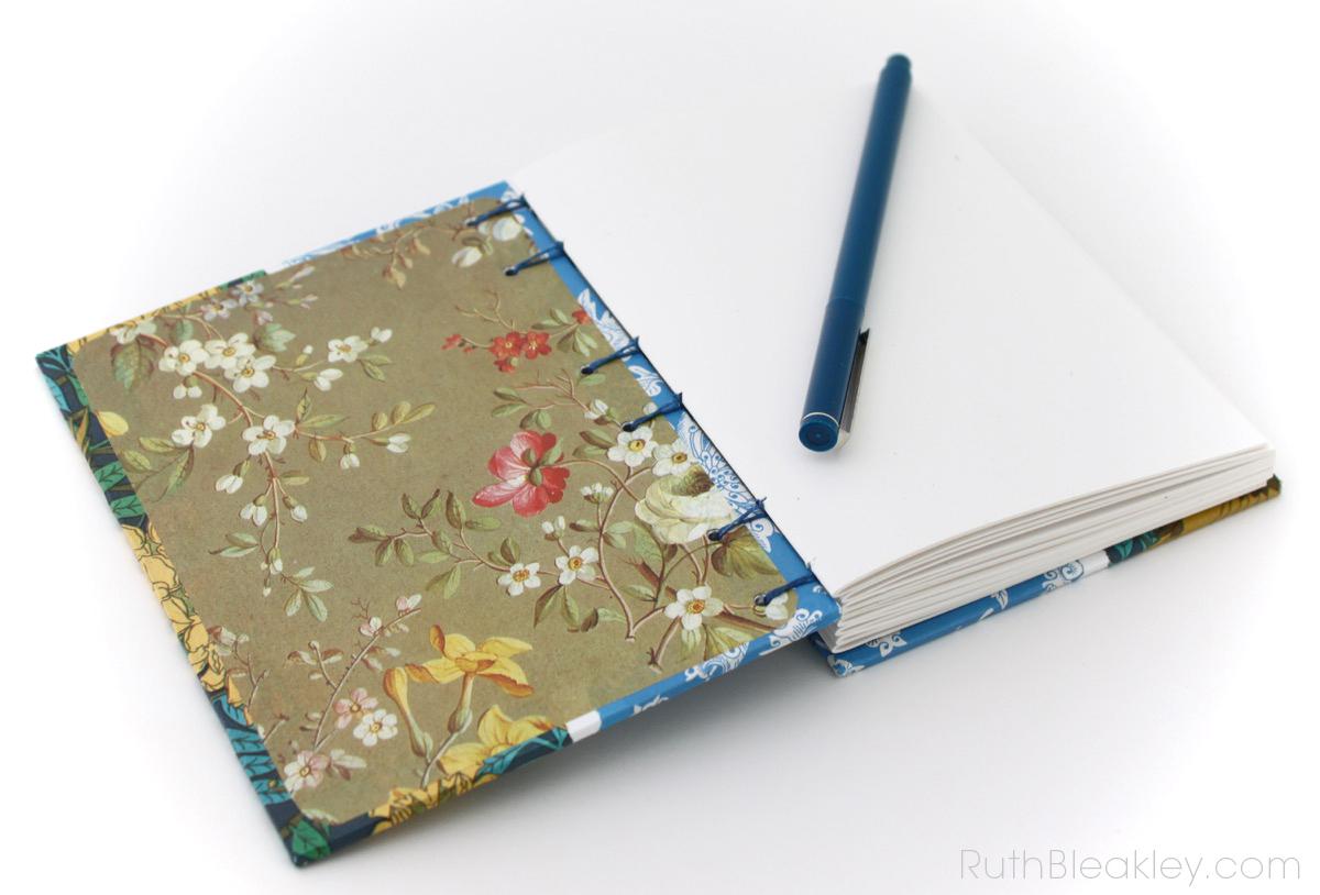 Sparrow Art Nouveau Journal handmade by bookbinder Ruth Bleakley - 7