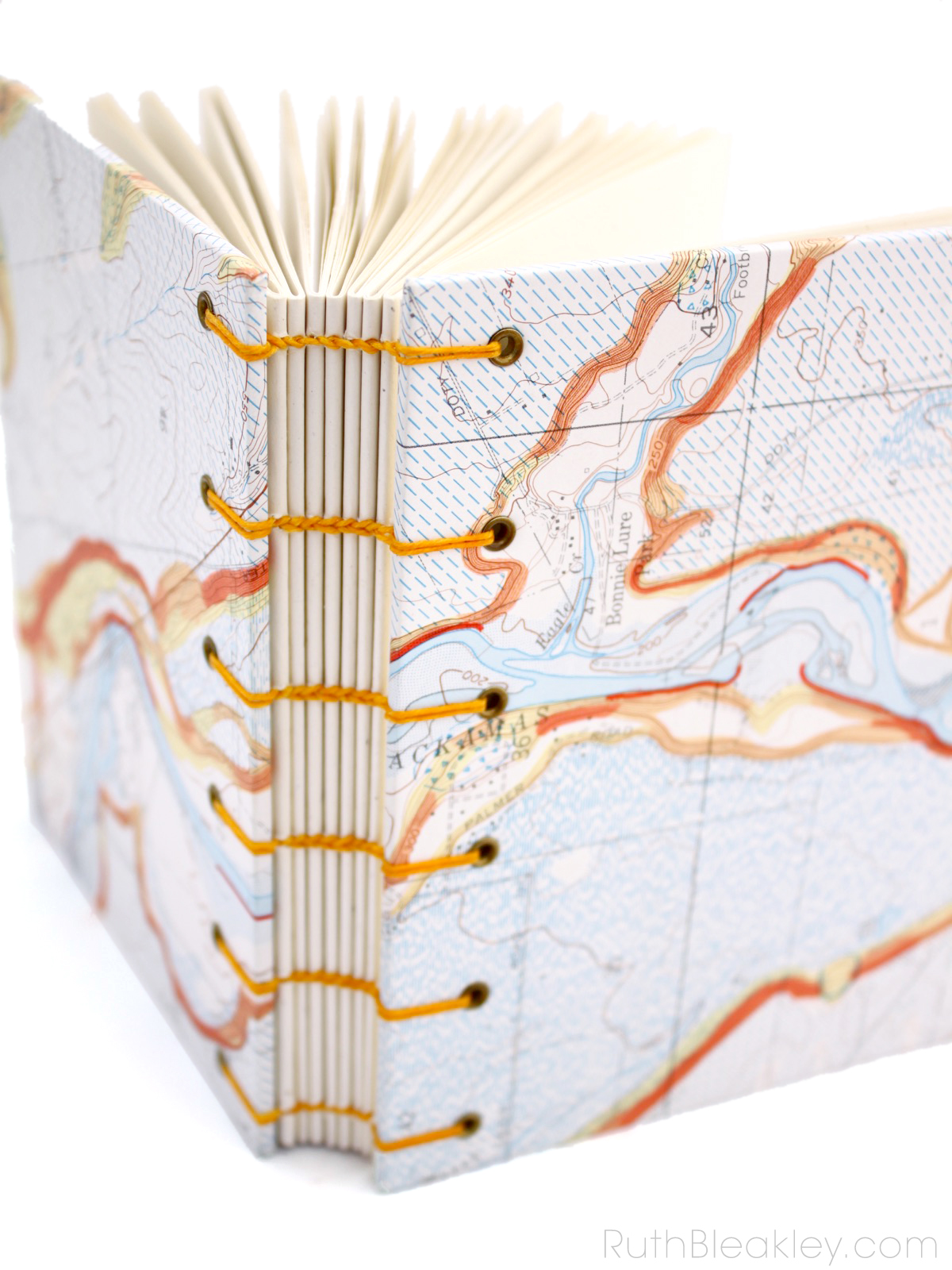 Topographic Map Journal by Ruth Bleakley with coptic stitch binding