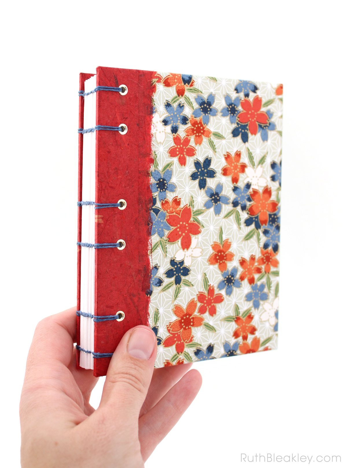 Red Blossoms Journal handmade by Ruth Bleakley - 2