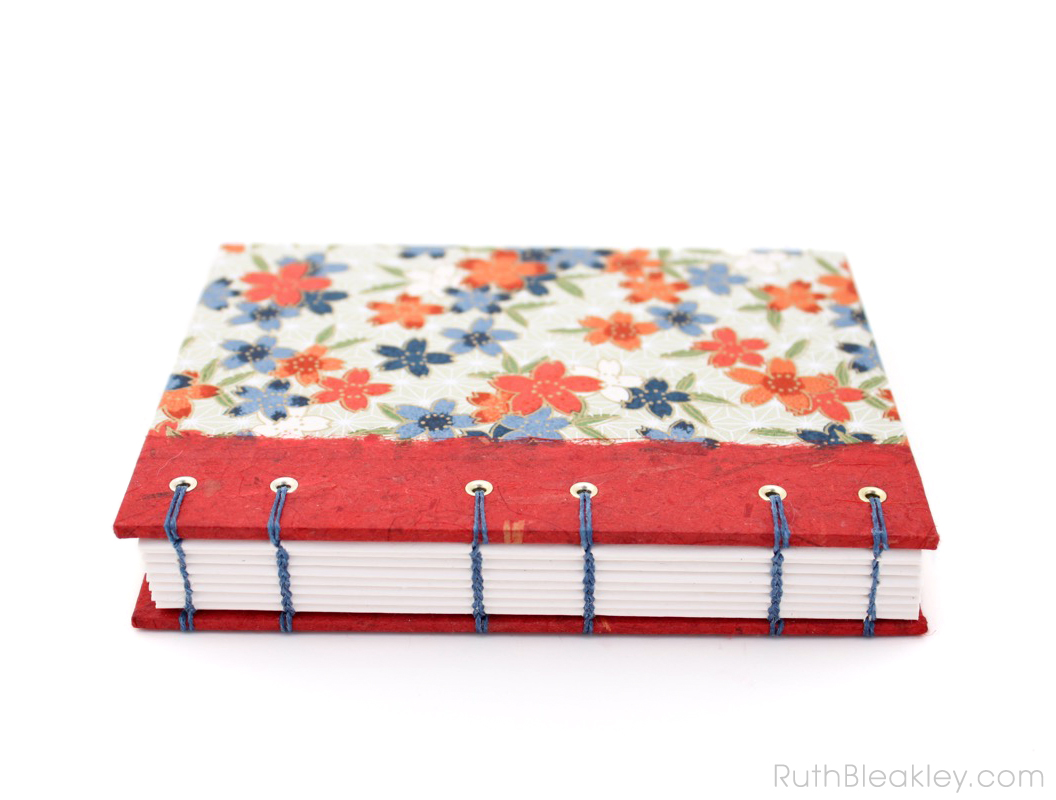 Red Blossoms Journal handmade by Ruth Bleakley - 3