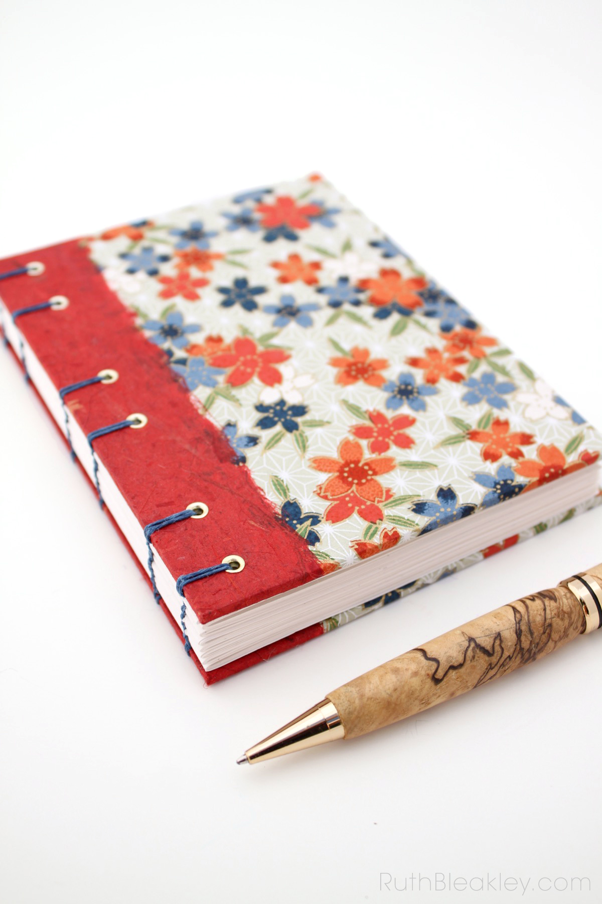 Red Blossoms Journal handmade by Ruth Bleakley - 4