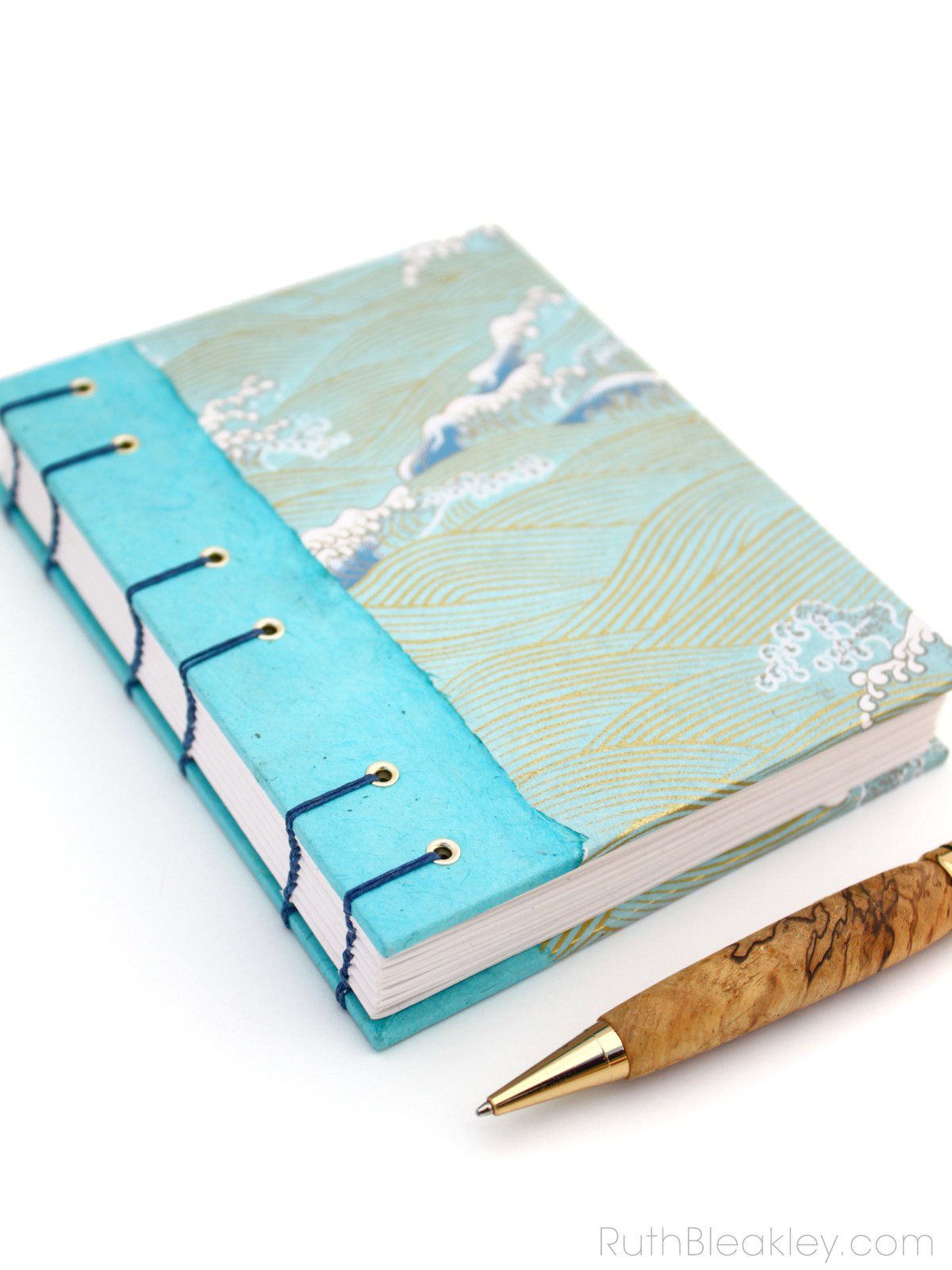 Waves journal by Ruth Bleakley with coptic stitch binding - 1