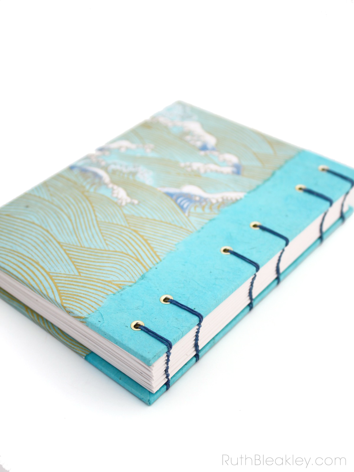 Waves journal by Ruth Bleakley with coptic stitch binding - 2