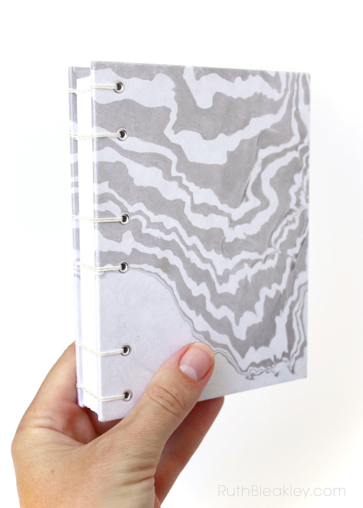 Travel Journal with Marbled Paper that lays flat for writing Handmade by Ruth Bleakley - 3