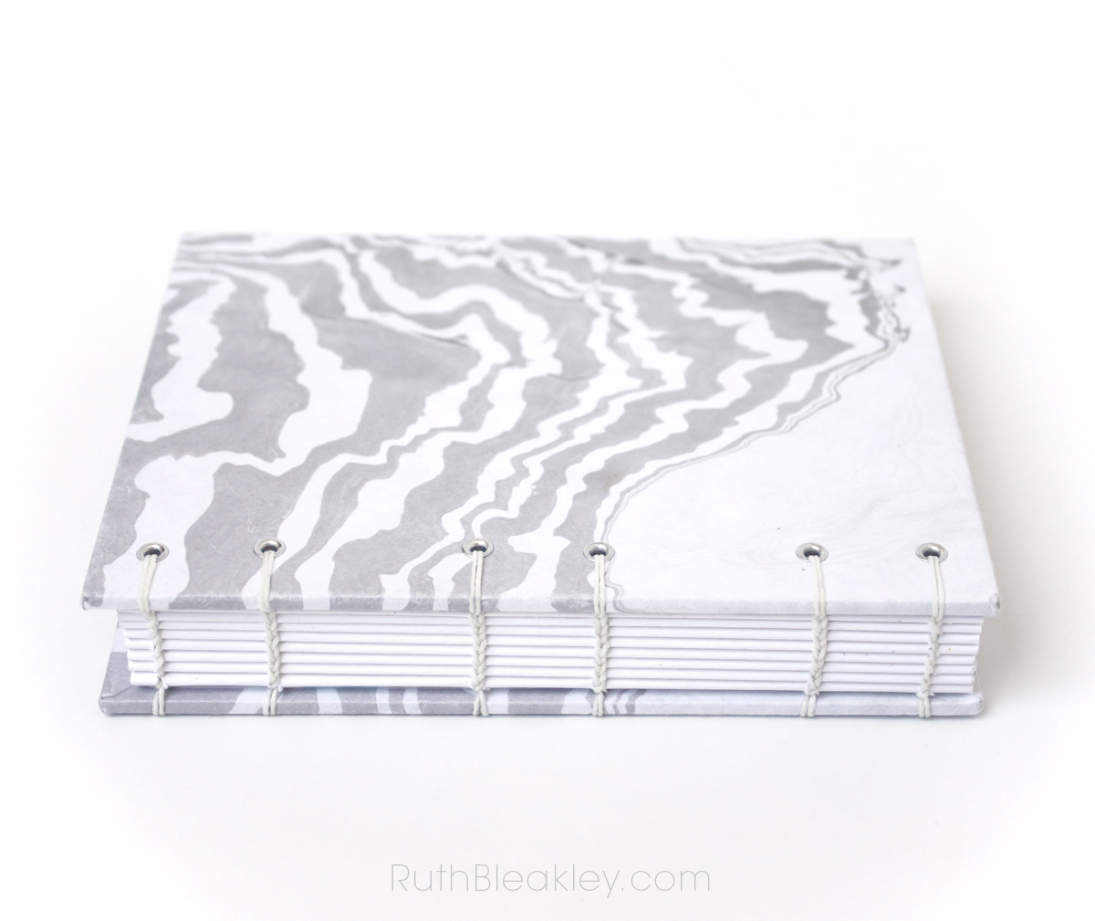 Travel Journal with Marbled Paper that lays flat for writing Handmade by Ruth Bleakley - 4