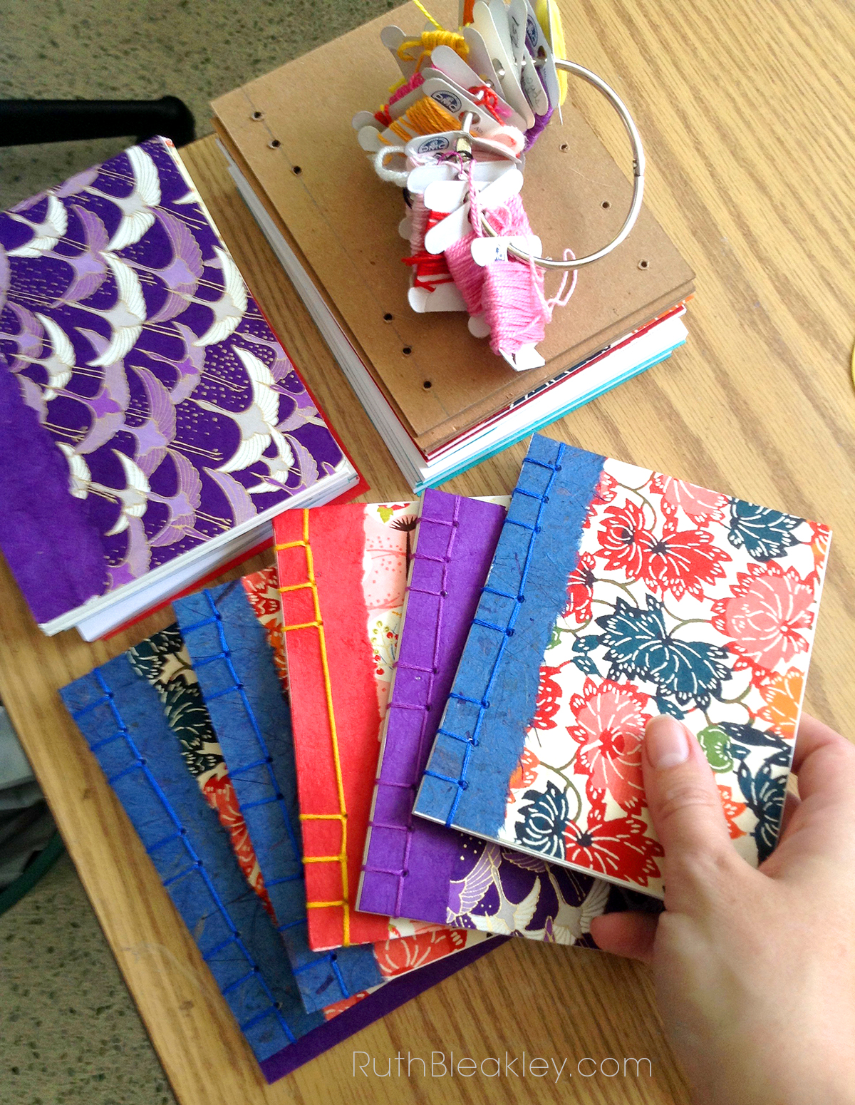 Japanese Stab Binding notebooks made by Ruth Bleakley