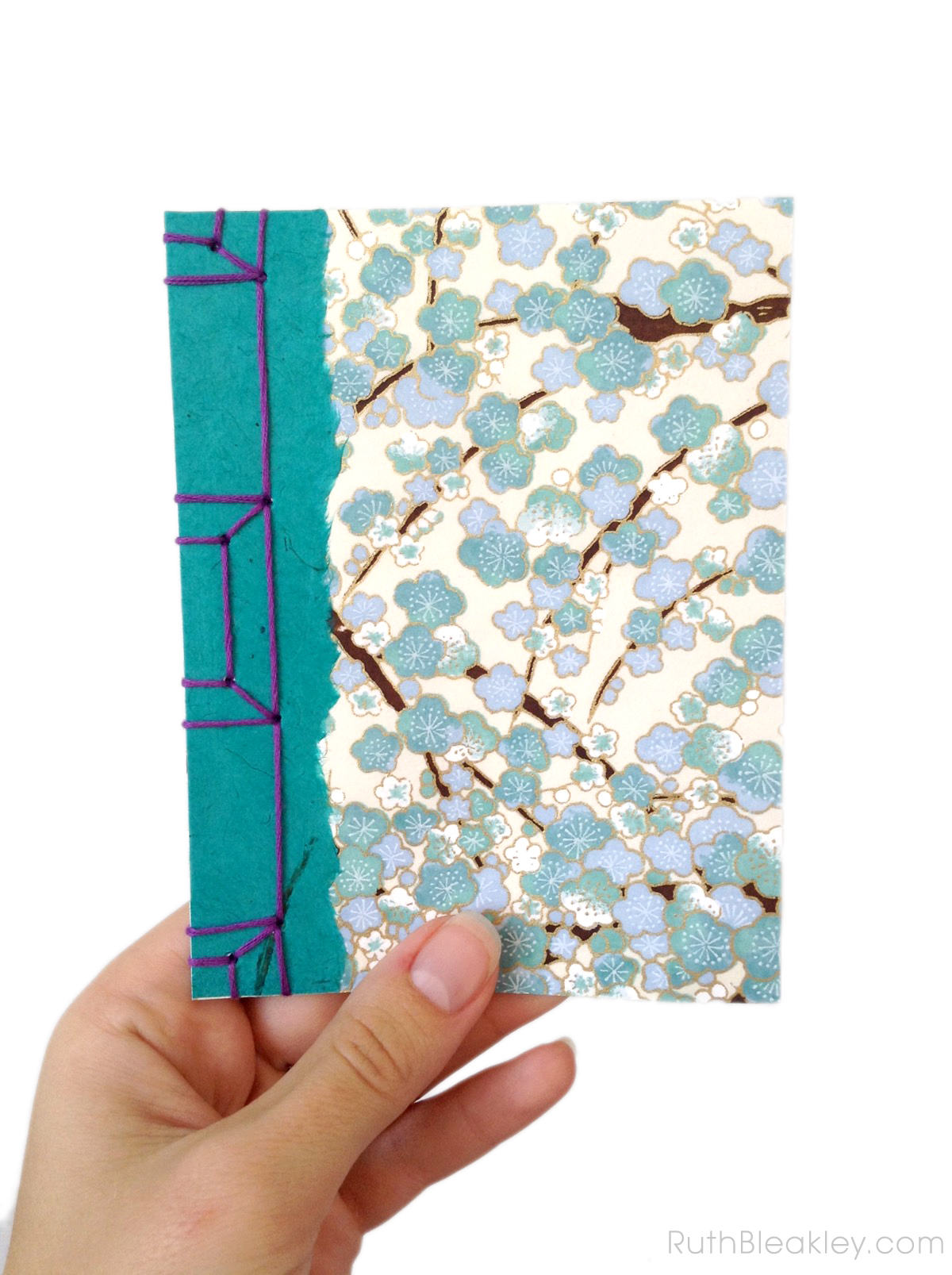 Japanese Stab Bound Book with Blue Plum Blossom Paper by Ruth Bleakley