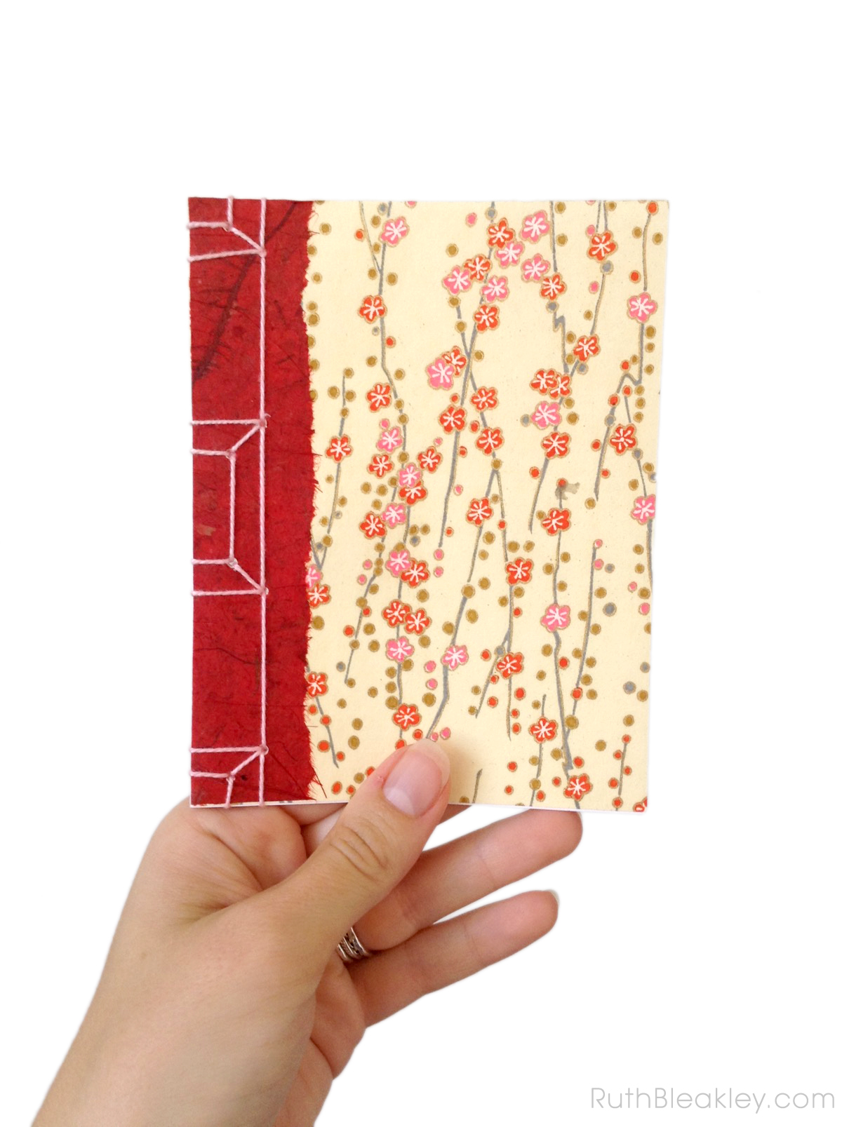 Cherry Blossom Chiyogami Notebook handmade by Ruth Bleakley