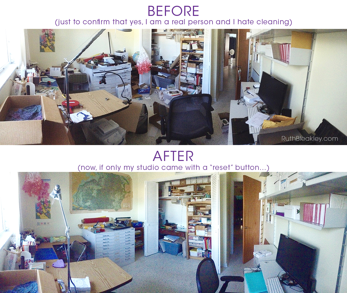 Ruth Bleakley Bookbinding Studio before and after