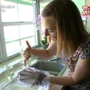 Ruth Bleakley demonstrating paper marbling for Japanese TV
