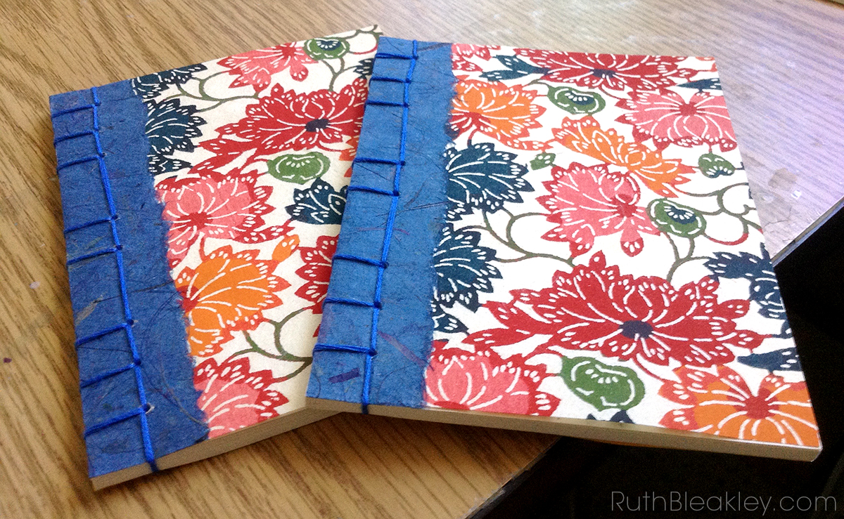 Watoji Japanese style bookbinding by Ruth Bleakley with katazome paper