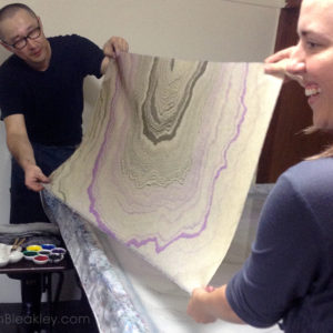 suminagashi master in Japan teaching paper marbling to book artist Ruth Bleakley