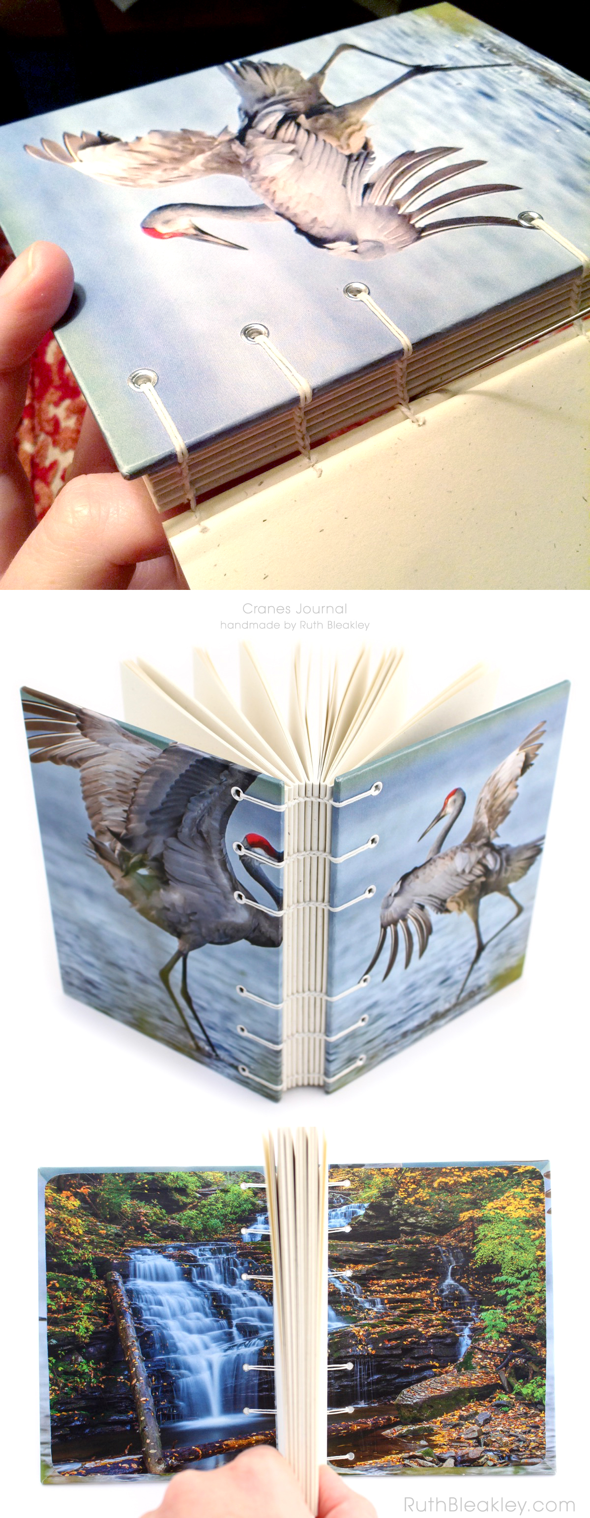 Cranes Journal handmade by book artist Ruth Bleakley
