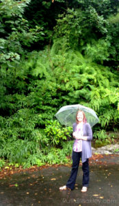 Ruth in Kyoto Japan with a clear umbrella