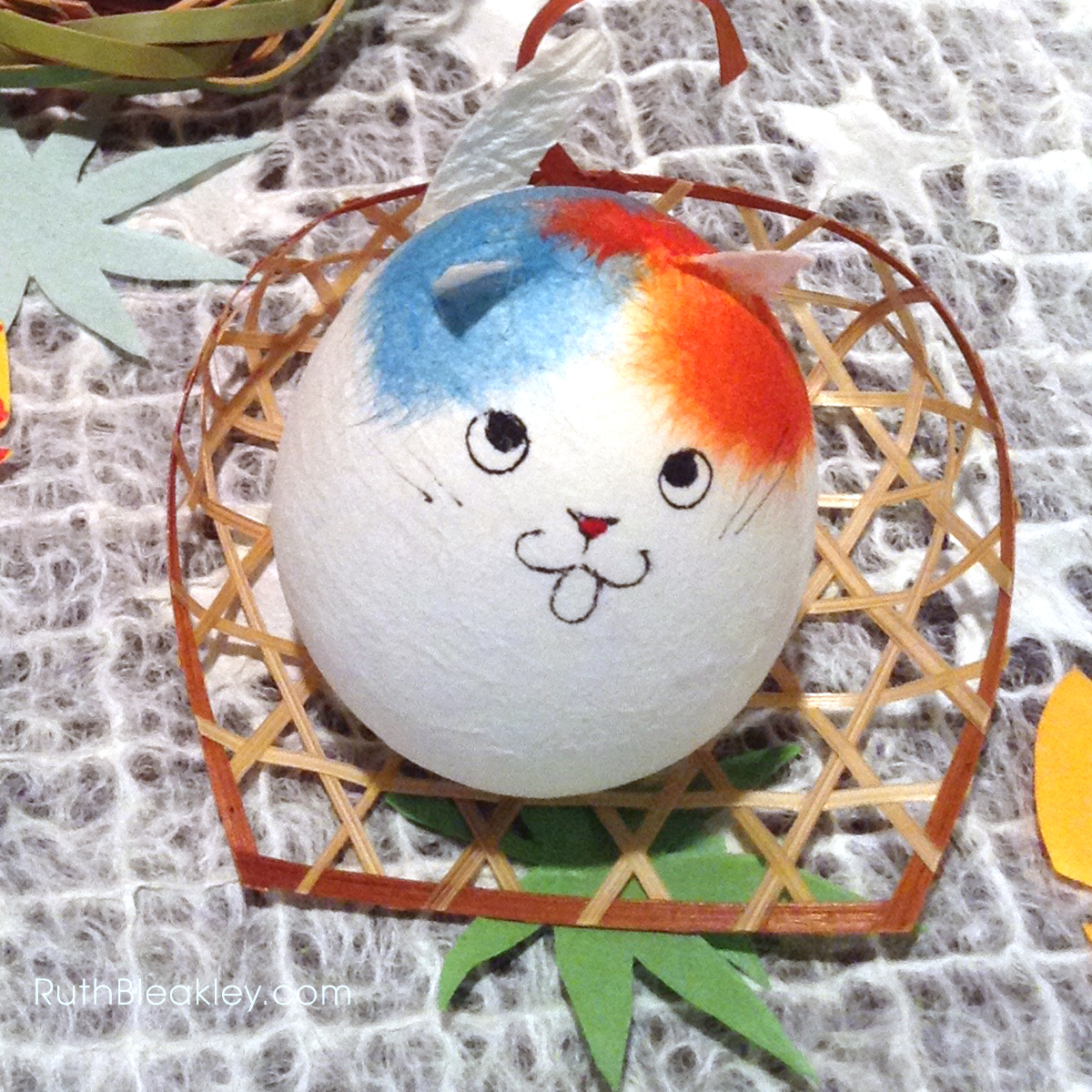 Ruth visits Suzuki Shofudo in Kyoto Japan for Katazome Washi Paper - cat egg doll