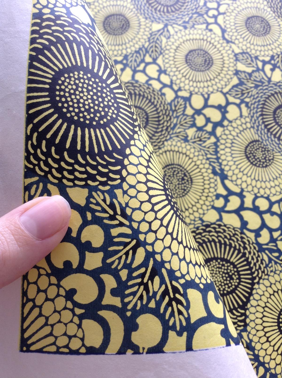 Handmade Yellow Daisies Katazome Paper from Japan - 76