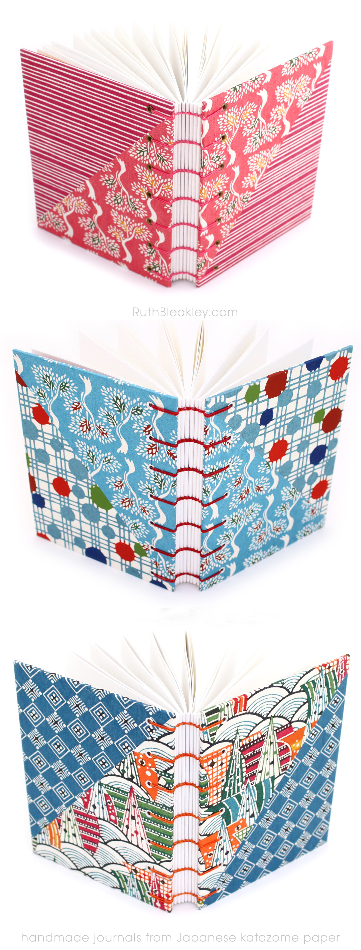 Handmade journals by Ruth Bleakley from Japanese Stencil Dyed Katazome Paper