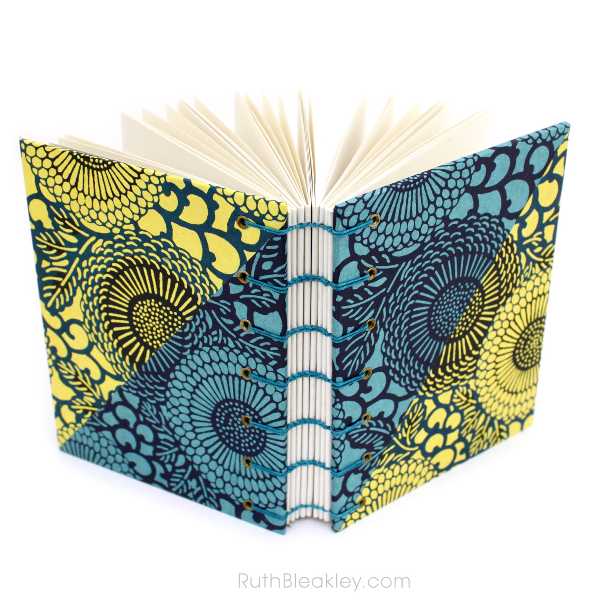 Katazome Blue and Yellow Flours Journal handbound by bookbinder Ruth Bleakley - 3