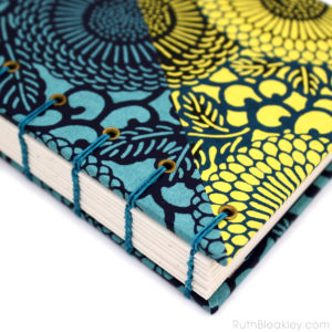 Katazome Blue and Yellow Flours Journal handbound by bookbinder Ruth Bleakley