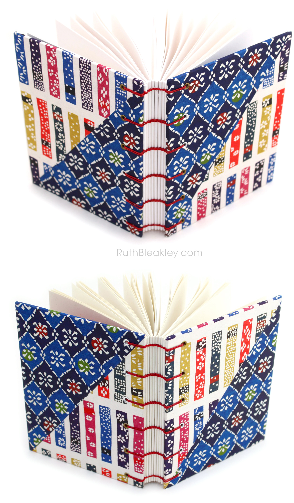 Katazome shi Colorful Japanese Paper Twin Journals by Ruth Bleakley