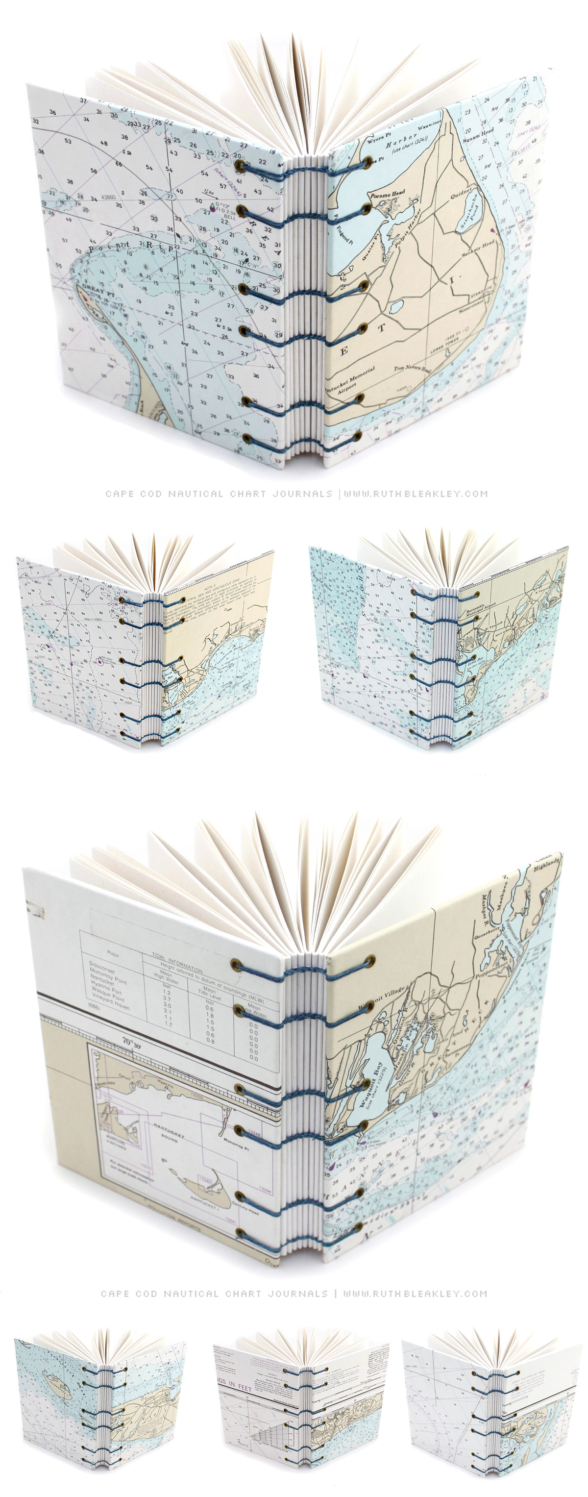 Cape Cod Nautical Chart Coptic Journals made by bookbinder Ruth Bleakley