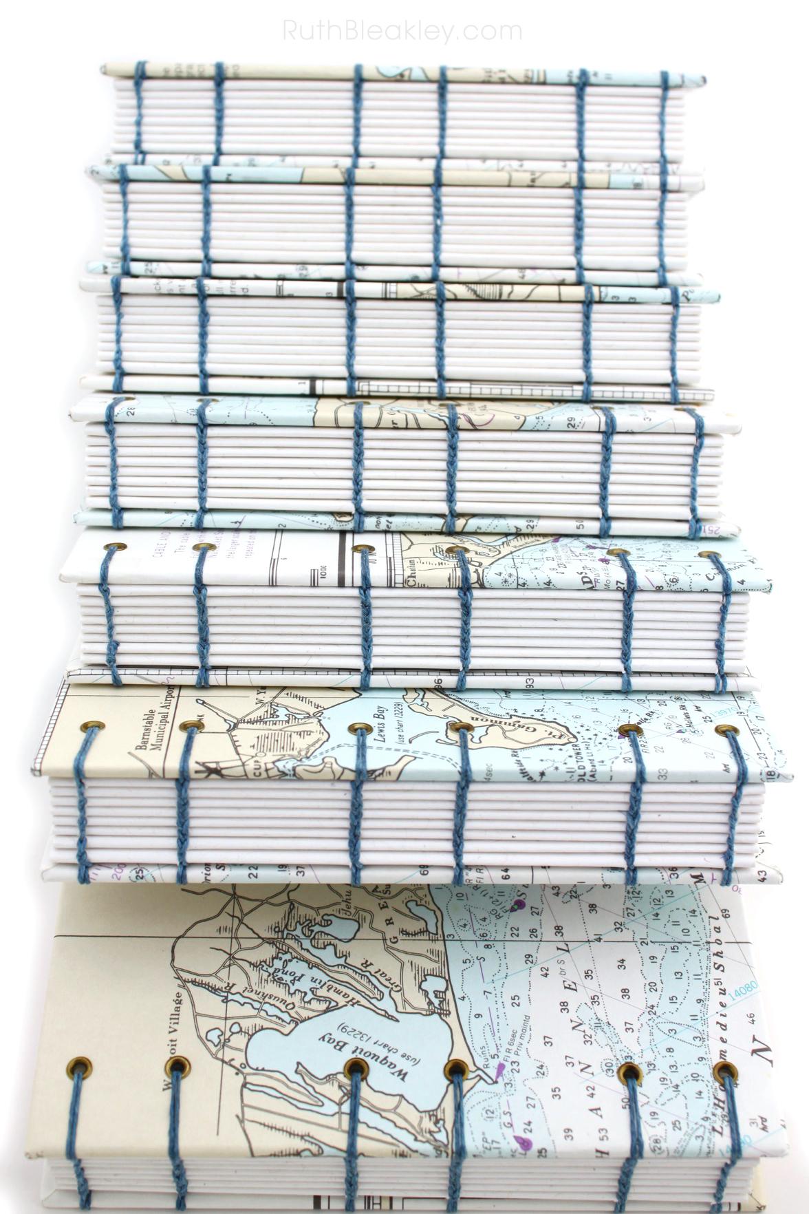 Cape Cod Nautical Chart Journals handmade by Ruth Bleakley - coptic journals