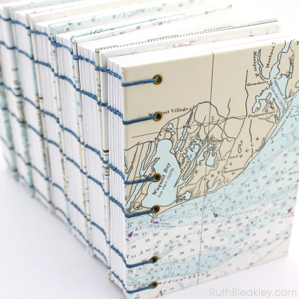 Cape Cod Nautical Chart Journals handmade by Ruth Bleakley - Coptic Stitch