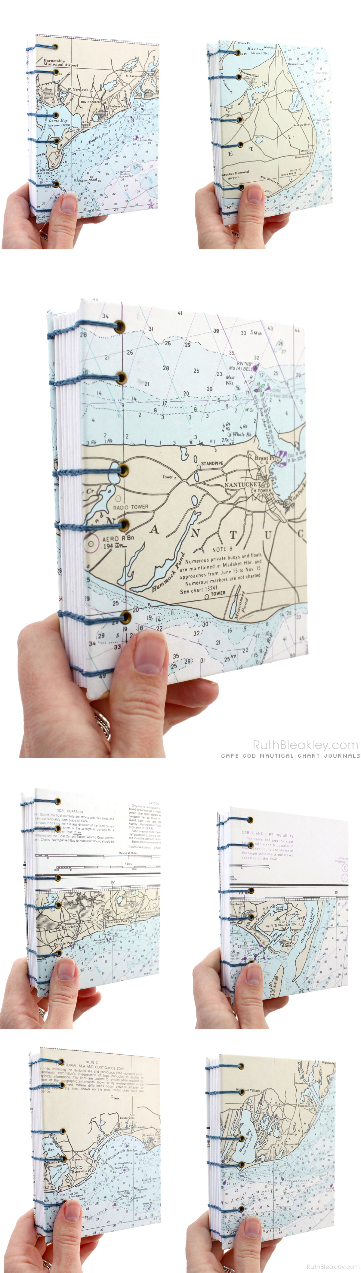 Cape Cod Nautical Chart Journals made by Ruth Bleakley - Unlined Coptic Journals