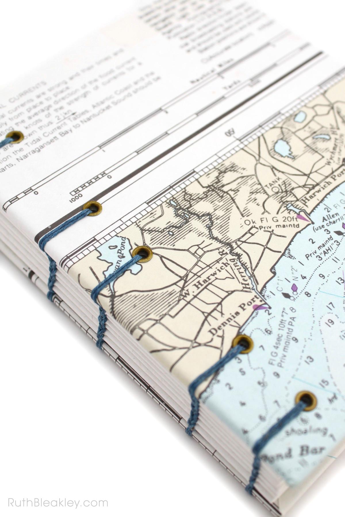 Harwich Port Nautical Chart Journal handmade by Ruth Bleakley - 3
