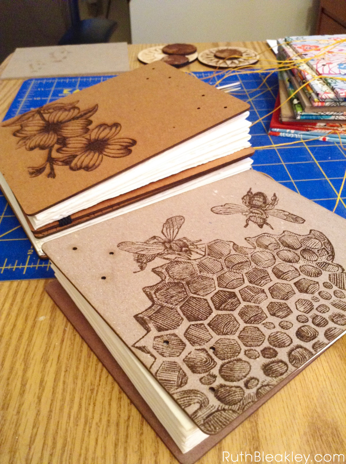 Honeybee Watercolor Sketchbook handmade by Ruth Bleakley with laser engraved cover - covers and pages ready for hand stitching