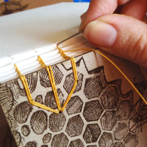 Honeybee Watercolor Sketchbook handmade by Ruth Bleakley with laser engraved cover - handbound with coptic stitch