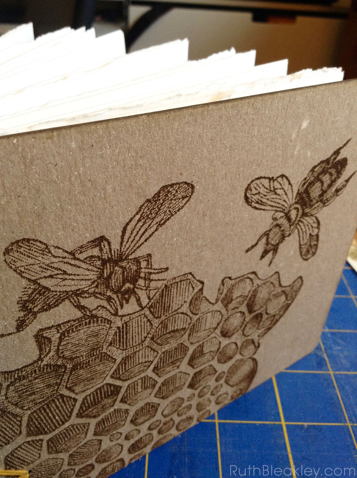 Honeybee Watercolor Sketchbook handmade by Ruth Bleakley with laser engraved cover - 6