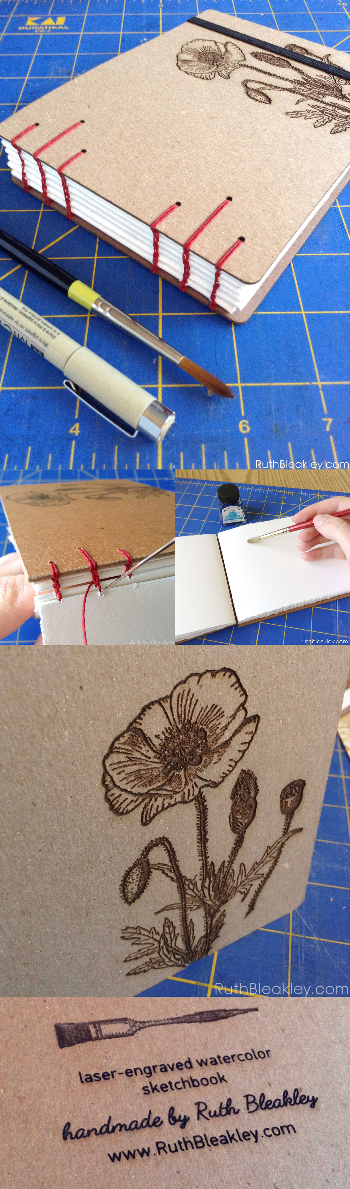 handmade sketchbook with red poppy covers and laser engraved covers made by bookbinder Ruth Bleakley