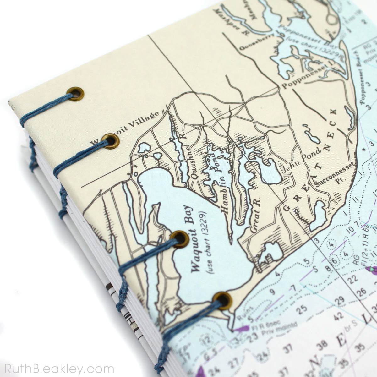 Waquoit Bay Cape Cod Nautical Chart Journal handmade by Ruth Bleakley - 4