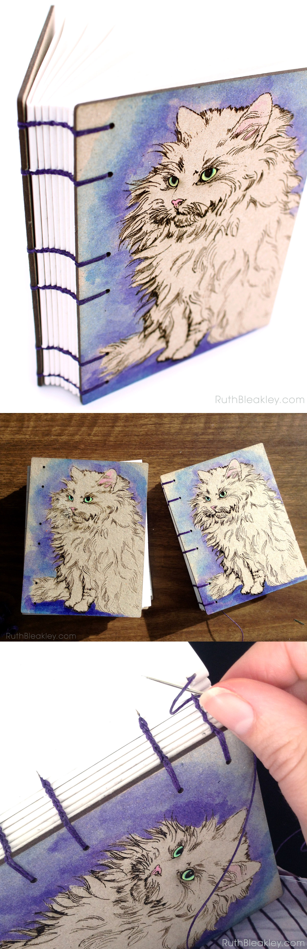 Handmade gift for Cat Lovers Purple Cat Journal handbound by Ruth Bleakley
