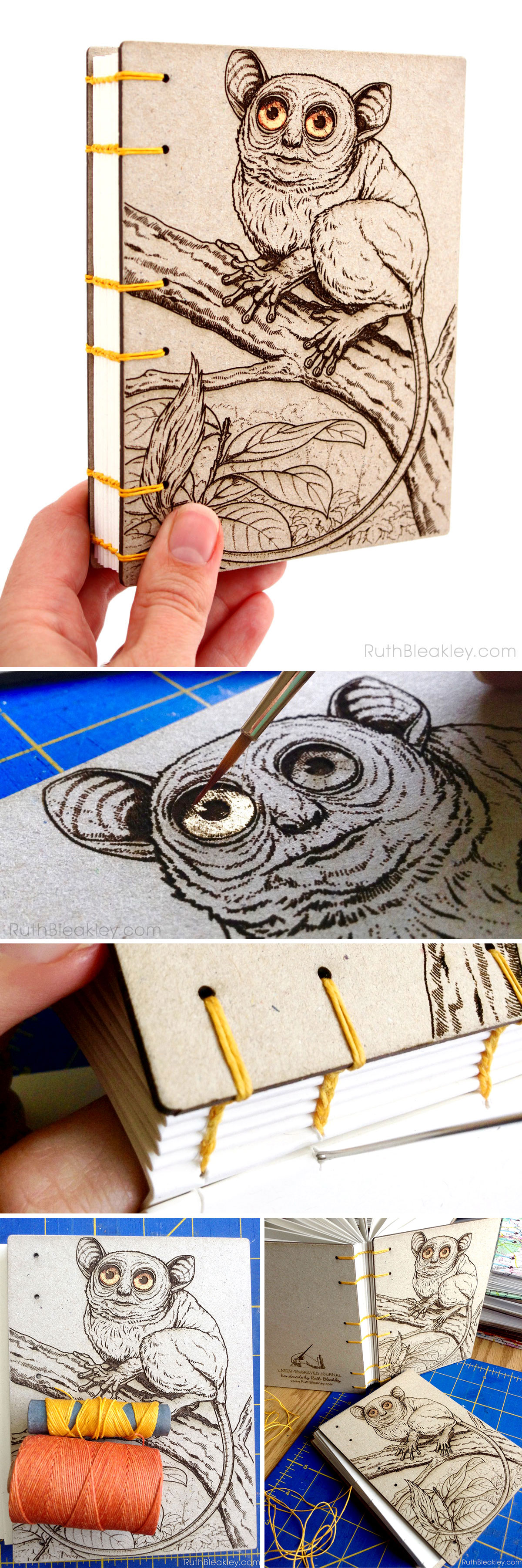 Koboldmaki Tarsier Journal handmade by Ruth Bleakley - reminds me of Yoda