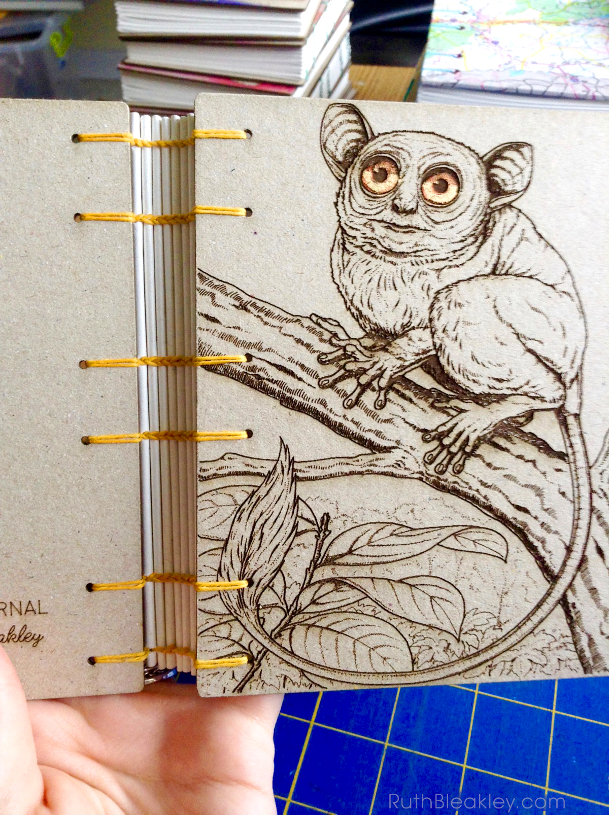 Koboldmaki Tarsier laser engraved journal handmade by book artist Ruth Bleakley - hello there
