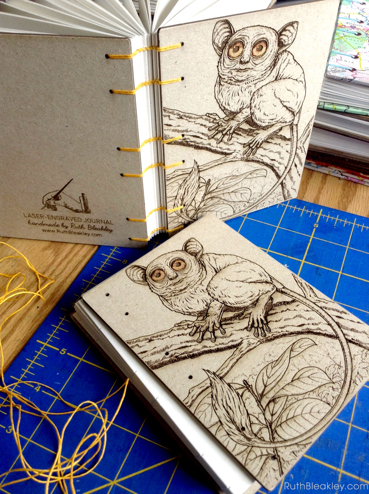 Koboldmaki Tarsier laser engraved journal handmade by book artist Ruth Bleakley - handmade with Glowforge