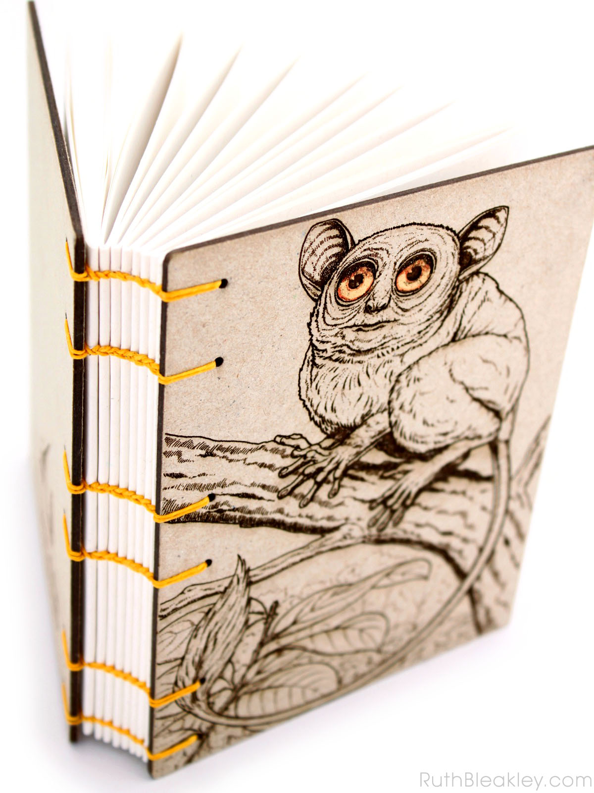 Koboldmaki laser engraved journal handmade by book artist Ruth Bleakley - unlined journal