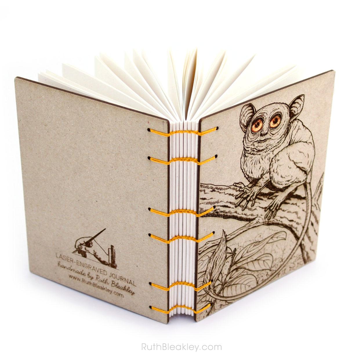 Koboldmaki laser engraved journal handmade by book artist Ruth Bleakley - coptic stitch