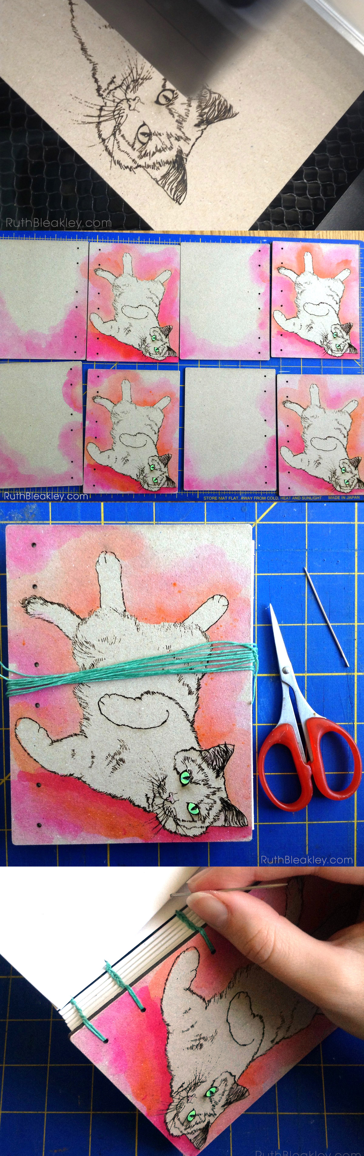 Making a Pink Cat Journal process by Ruth Bleakley