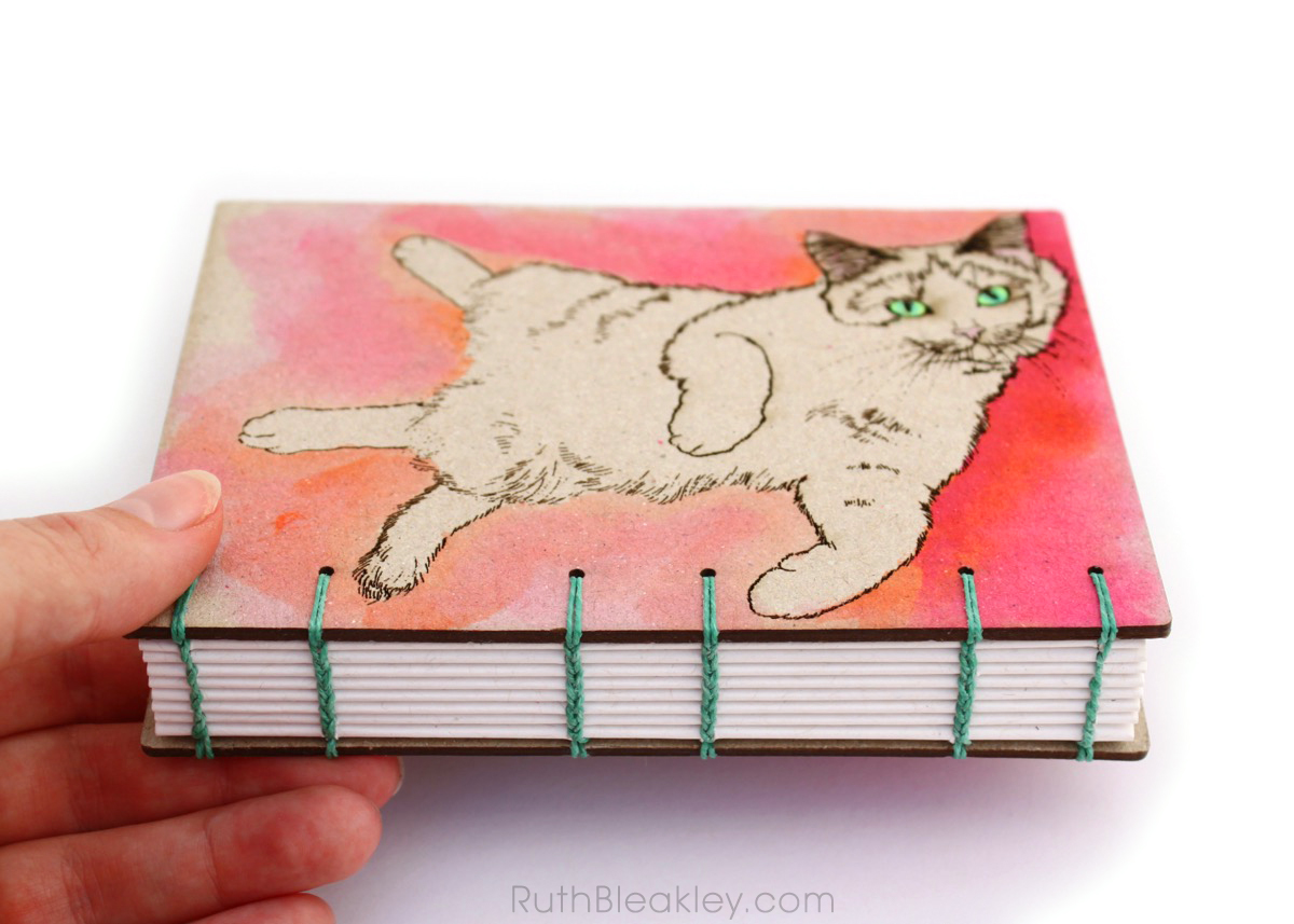 Orange and Pink Cat Journal handmade by book artist Ruth Bleakley - 3