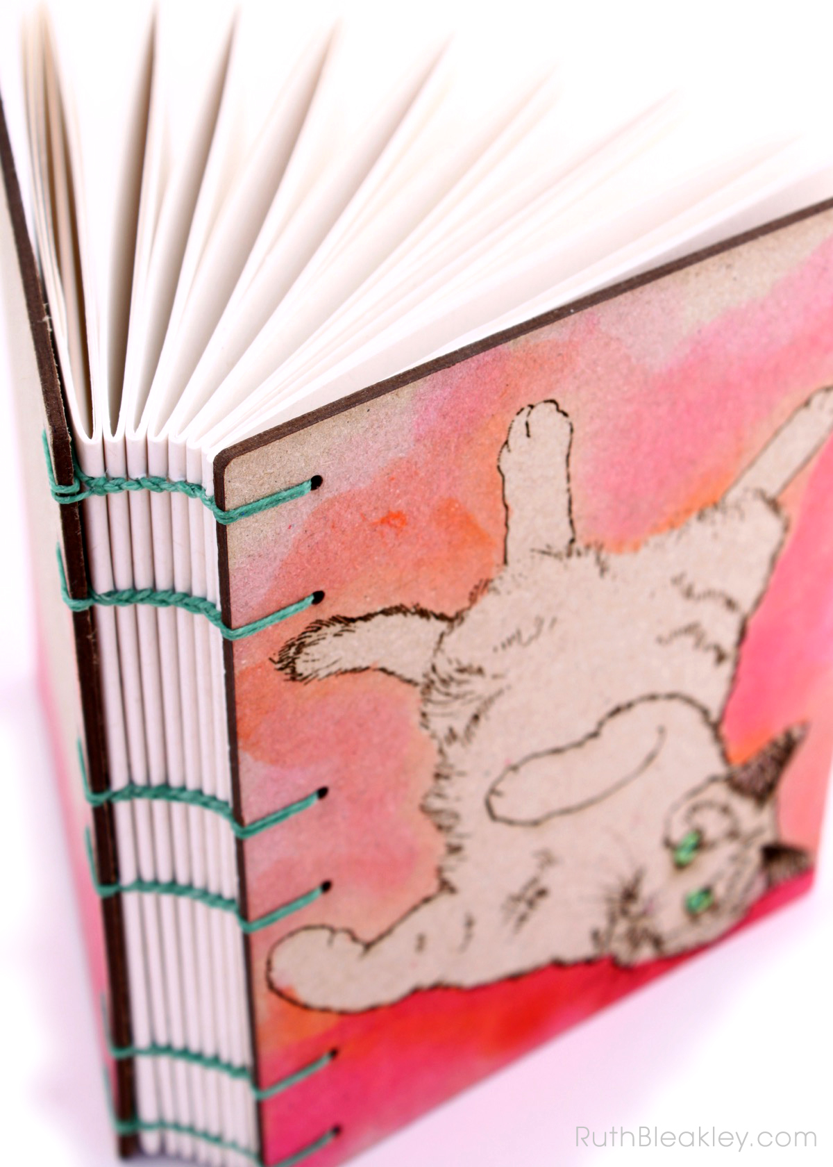 Orange and Pink Cat Journal handmade by book artist Ruth Bleakley - 6