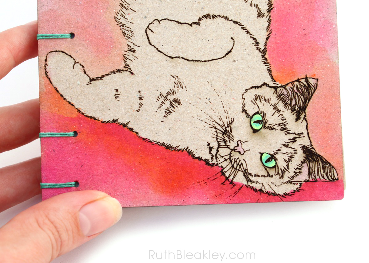 Orange and Pink Cat Journal handmade by book artist Ruth Bleakley - 7