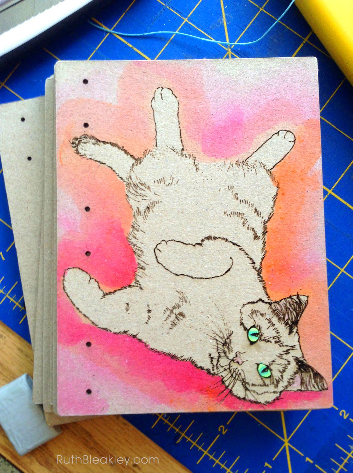 Orange and Pink Cat Journal progress photos handmade by book artist Ruth Bleakley - 1