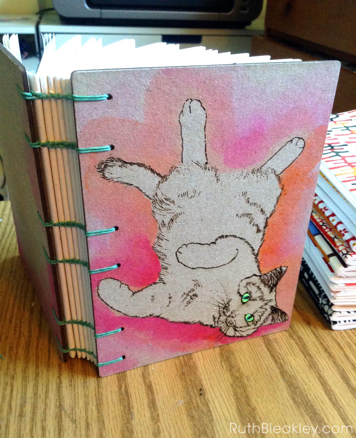 Orange and Pink Cat Journal progress photos handmade by book artist Ruth Bleakley - 4